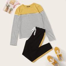 T-Shirt mit Farbblock und Streifen & Hose Set mit Kontrast Ziernaht