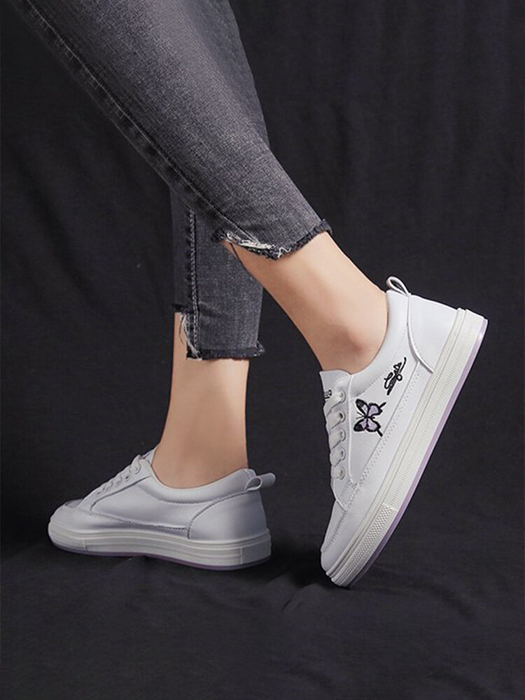 Women Butterfly Embroidered Lace Up Flat Court Sneakers White Casual Shoes