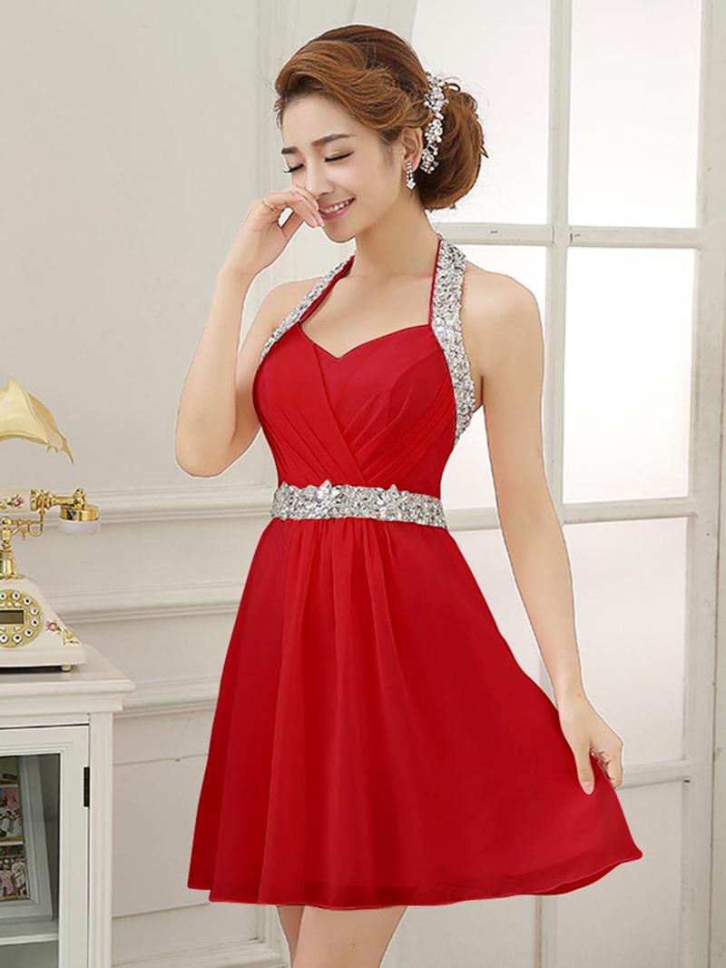 Glittering Halter Beading Short Homecoming Dress
