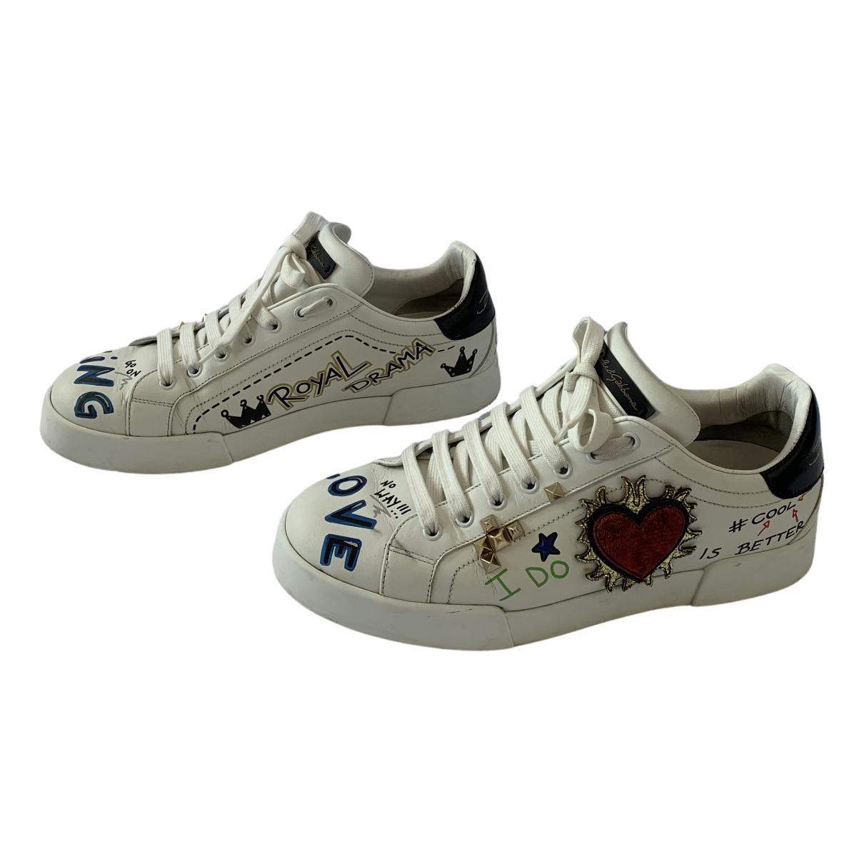 Dolce & Gabbana Portofino Sneakers in  Weiss Leder