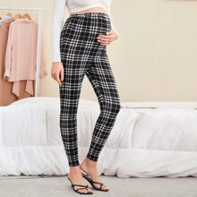 Maternity Elastic Waist Plaid Leggings