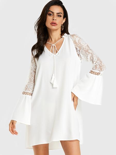 YOINS White Lace Insert V-neck Tassel Bell Sleeve Dress