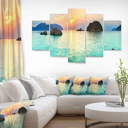 MT6413-373 Sunrise Panorama - Multipanel Photography Metal Wall Art - 60X32 - 5 Panels Diamond