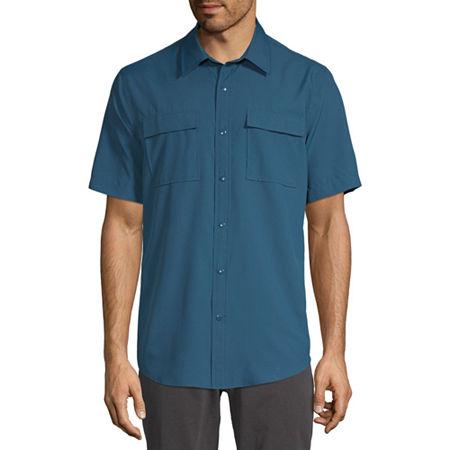 St. John's Bay Outdoor Mens Short Sleeve Button-Down Shirt, Medium , Blue