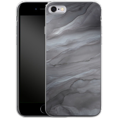 Apple iPhone 6 Silikon Handyhuelle - Black Watercolour Marble von Becky Starsmore
