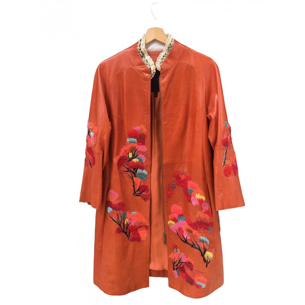 Shiatzy Chen - Veste   pour femme en cuir - orange