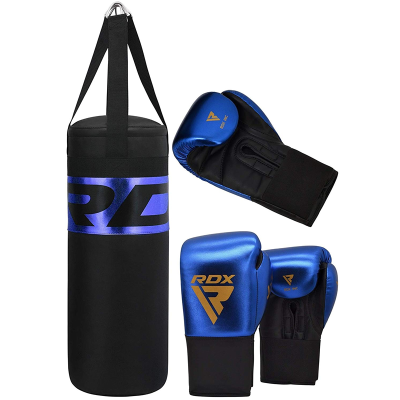 RDX J13 Children's Punch Bag Unfilled 2ft and Boxing Gloves Kids Blue/Golden