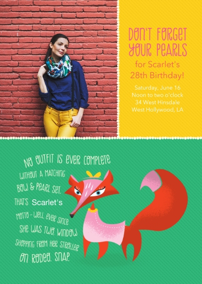 Birthday Party Invites 5x7 Folded Cards, Standard Cardstock 85lb, Card & Stationery -Animal Personality Birthday Fox
