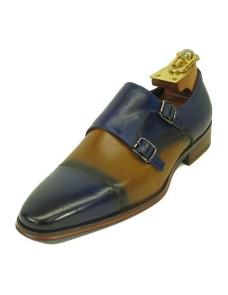 Men's Fashionable Blue/Tan Two Buckle Slip On Style Due Tone Shoes