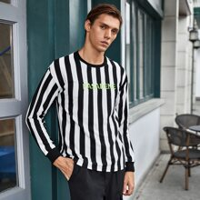 Men Letter Embroidery Striped Tee