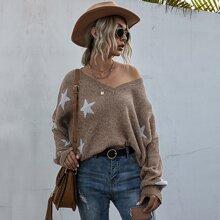 Ripped Hem Star Pattern Sweater
