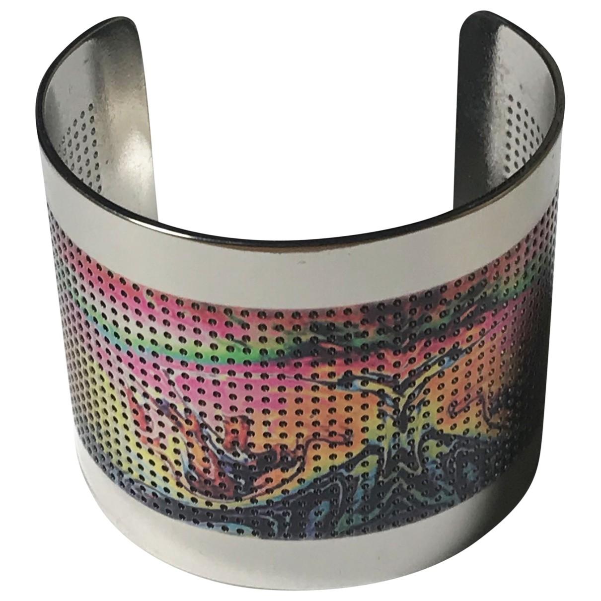 - Bracelet Manchette pour femme en plaque argent - multicolore