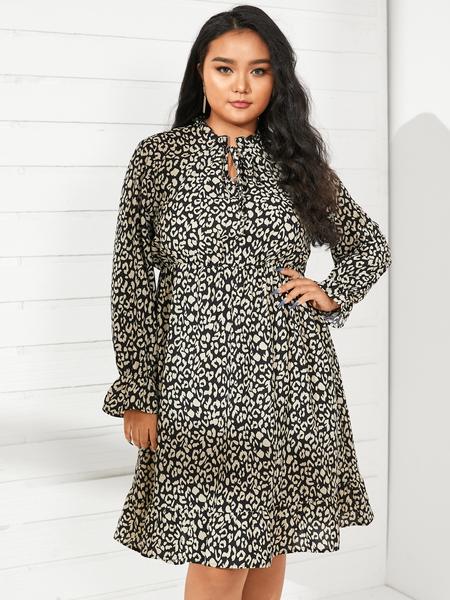 YOINS Plus Size Crew Neck Leopard Ruffle Trim Long Sleeves Midi Dress