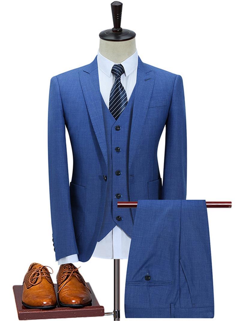 Ericdress Plain One Button Business Slim Men's Suit