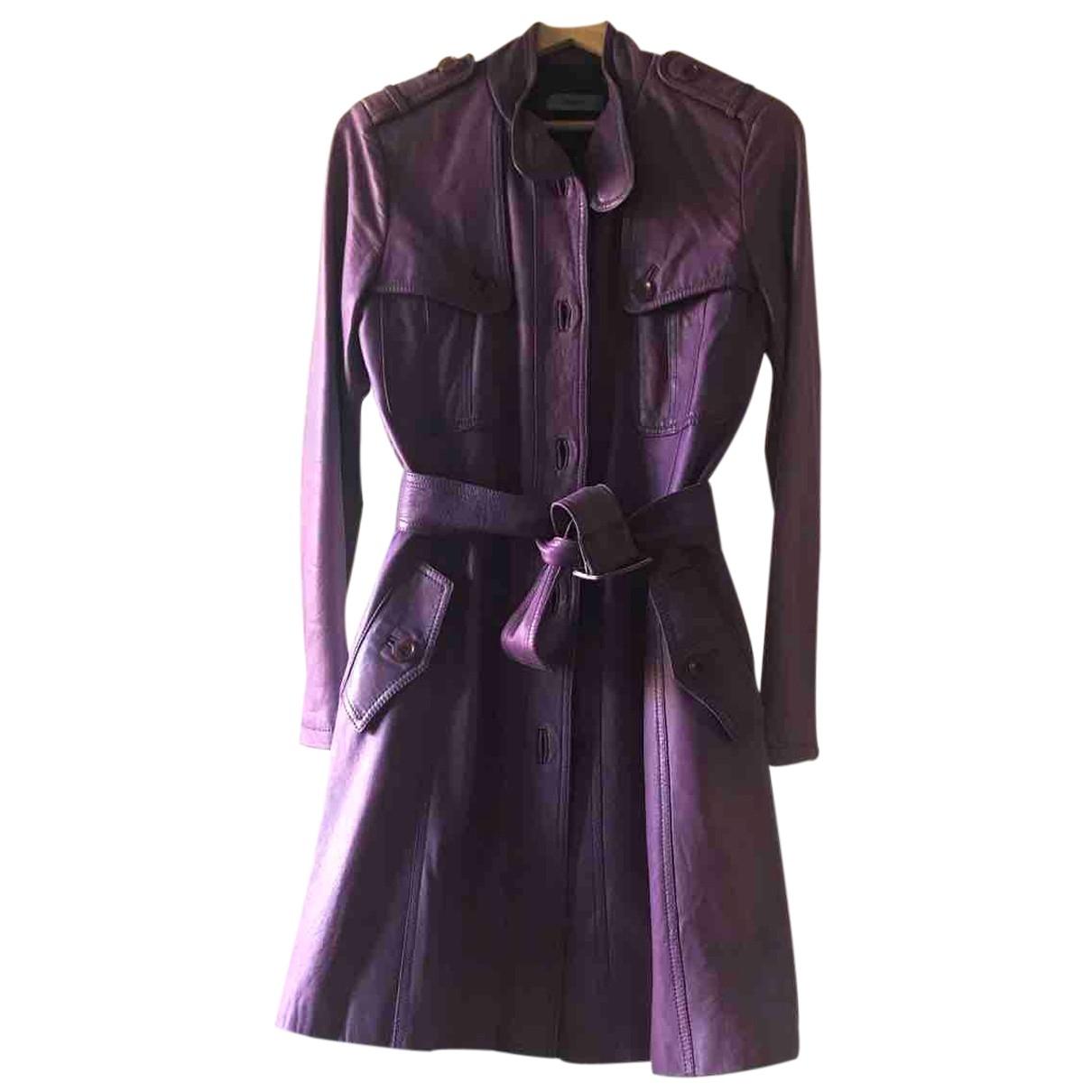 - Manteau   pour femme en cuir - violet