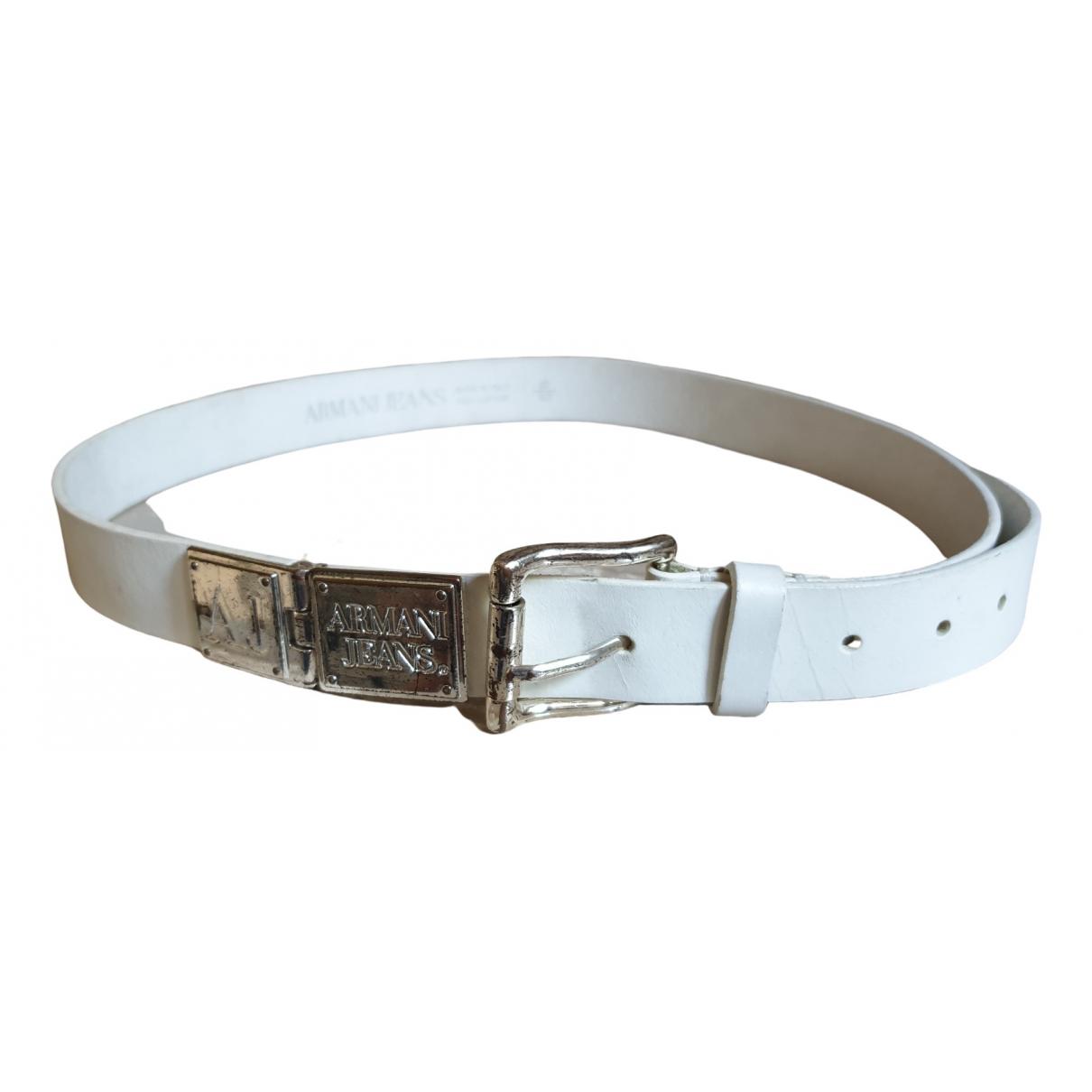 Armani Jeans \N White Leather belt for Women M International