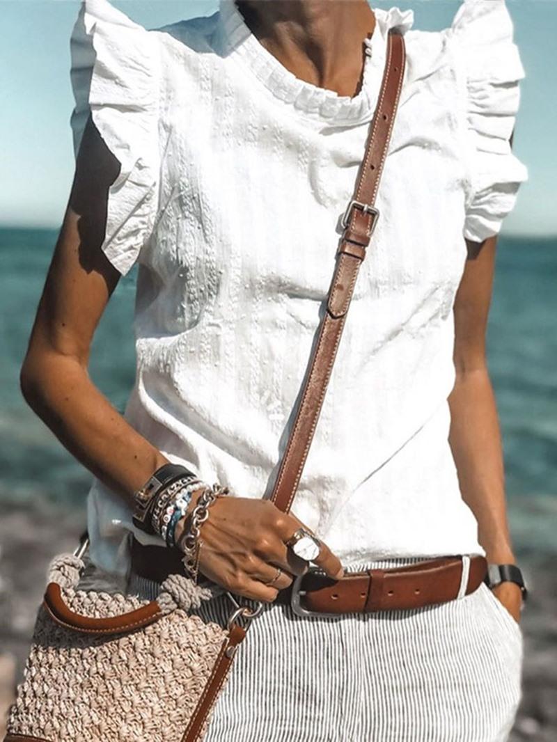Ericdress Pleated Plain Stand Collar Standard Cap Sleeve Blouse