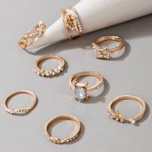 8 Stuecke Ring mit Strass Dekor
