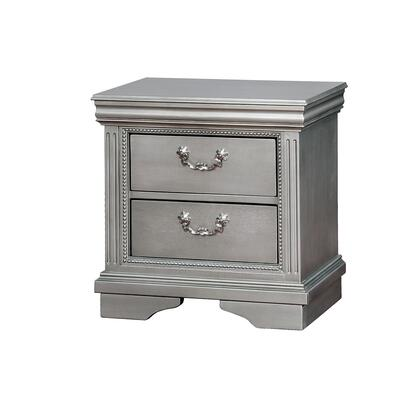 BM182942 Traditional Solid Wood Night Stand With Intricate Carvings  Silver and