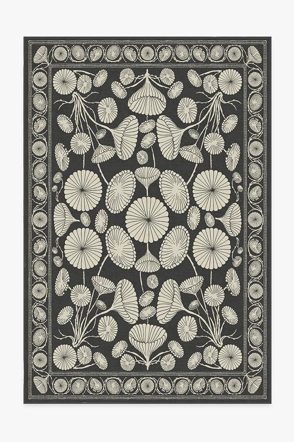 Washable Rug Cover   Cynthia Rowley Suzani Black Rug   Stain-Resistant   Ruggable   6'x9'