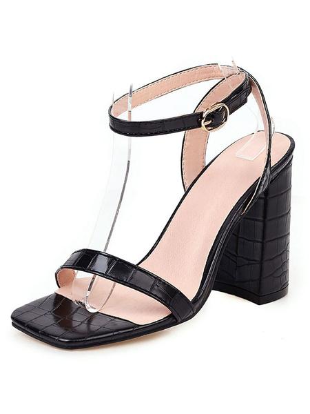 Milanoo Sandalias de mujer Chunky Heel Tobillo Correa Punta abierta Tallas grandes Zapatos