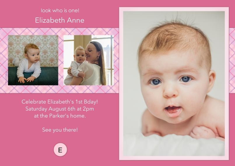 1st Birthday Invitations 5x7 Cards, Premium Cardstock 120lb with Elegant Corners, Card & Stationery -Pink Monogram