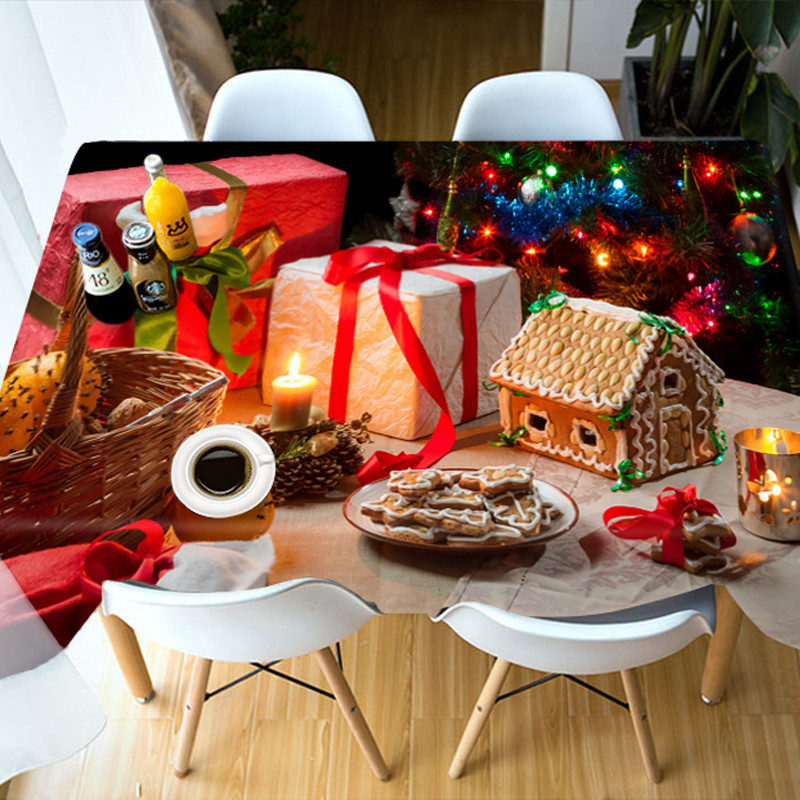 Christmas Waterproof Polyester European Style 3D Tablecloth