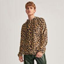 Teddy Hoodie mit Leopard Muster und Kordelzug