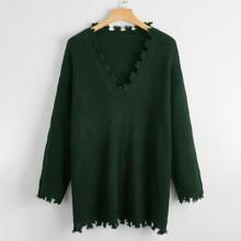 Plus Distressed V-neck Longline Sweater