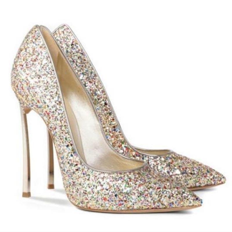 Ericdress Glit Sequin Stiletto Heel Slip-On Women's Prom Shoes