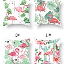 1pc Flamingo Print Cushion Cover Without Filler