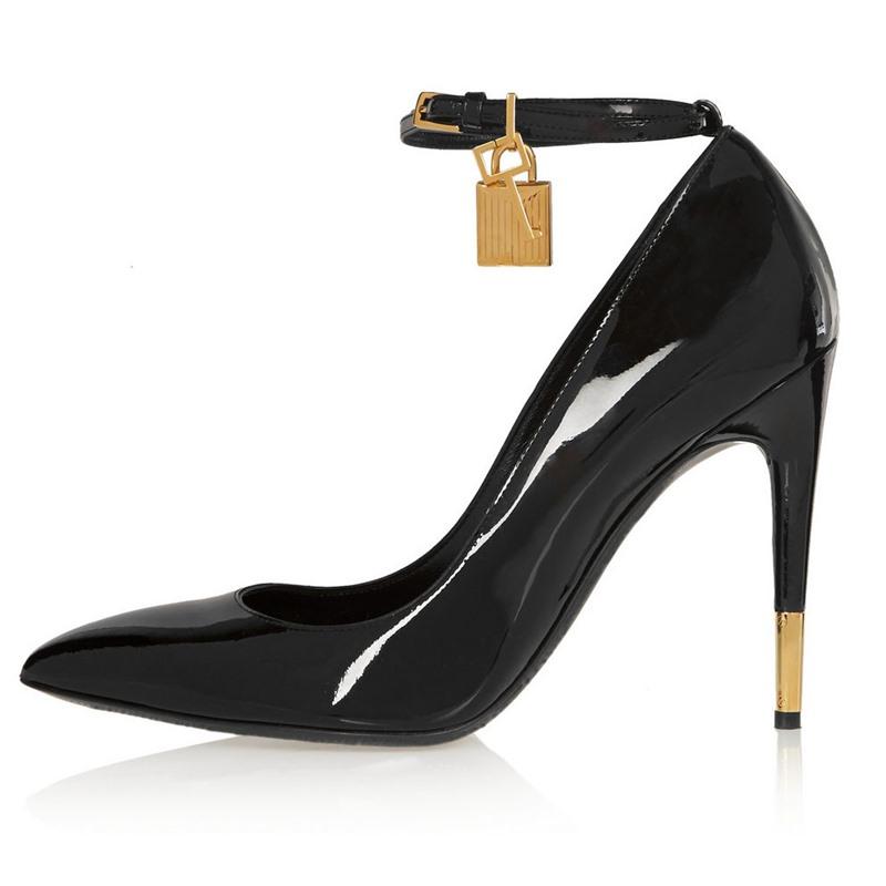 Ericdress Black Ankle Strap Pumps