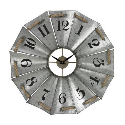 129-1091 Aluminum And Rope Wall Clock  In Galvanized Metal  Natural