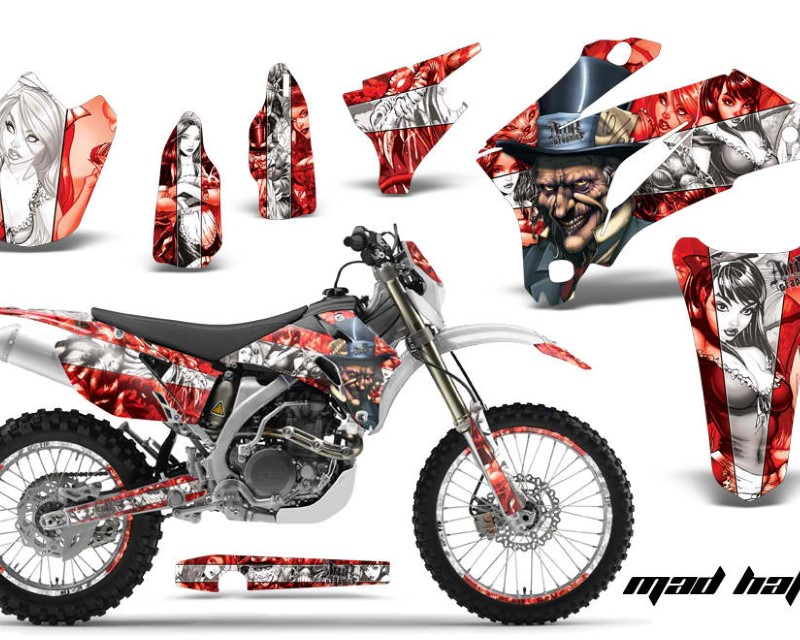 AMR Racing Graphics MX-NP-YAM-WR250F-07-14-WR450F-07-11-HAT W R Kit Decal Wrap + # Plates For Yamaha WR250F 2007-2014 WR450F 2007-2011áHATTER WHITE RE