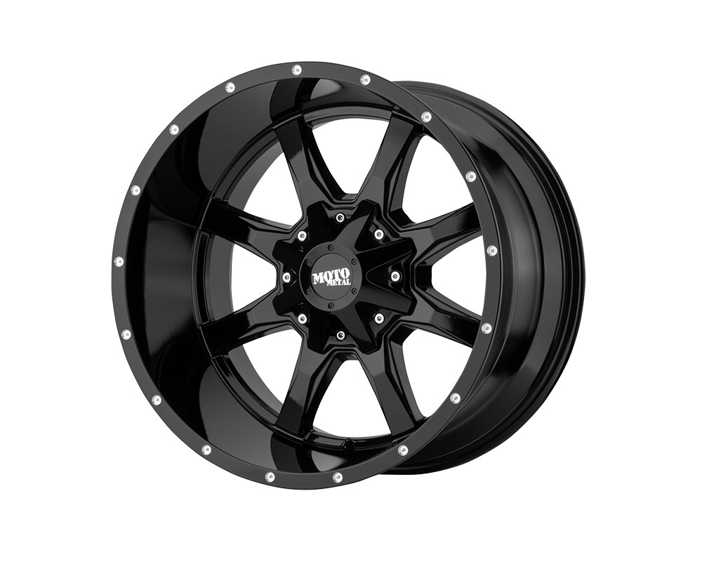 Moto Metal MO970790803A12N MO970 Wheel 17x9 8x8x165.1 -12mm Gloss Black w/Milled Lip