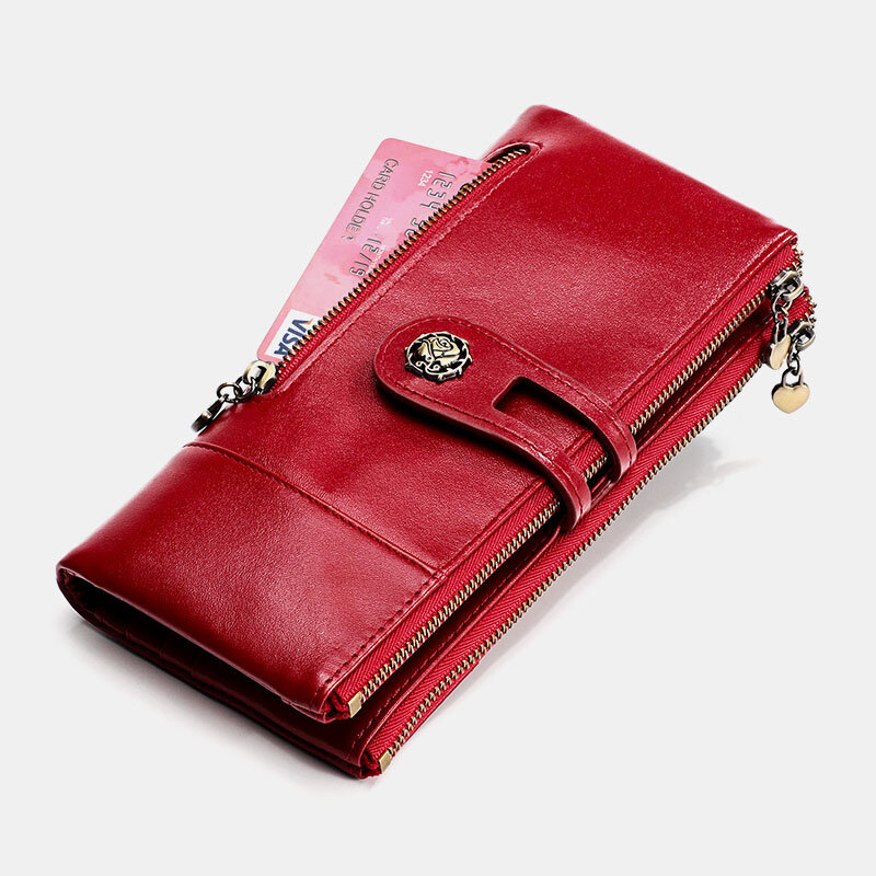 Women Genuine Leather Rfid Antimagnetic Multi-slots 14 Card Slots Zipper Bifold Long Wallet