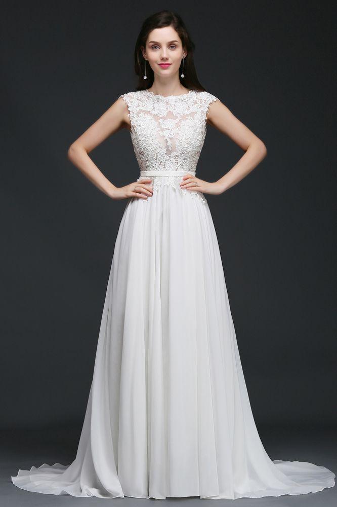 ANNALIZIEREN | A-Linie Scoop bescheidenen Hochzeitskleid mit Spitze Appliques