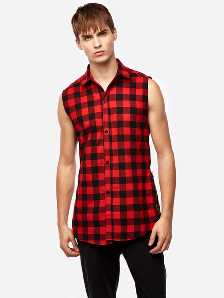 Yoins Street Style Red Grid Zipper Design Classic Collar Sleeveless High-low and Splited Hem Men's Tank