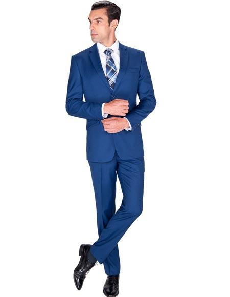 Mens Big and Tall Sizes Teal Cobalt Blue Indigo Suit