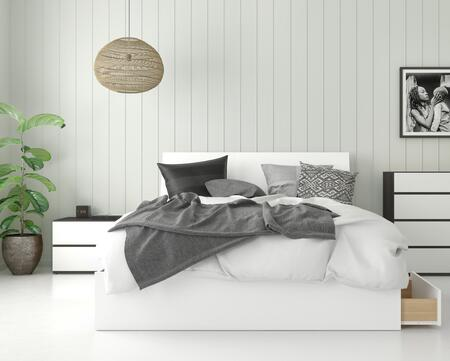 402161 Sienna 3 Piece Queen Size Bedroom Set with  Storage Platform Bed + Headboard + Nightstand  in White Matte Lacquer  Ebony Laminate  & White