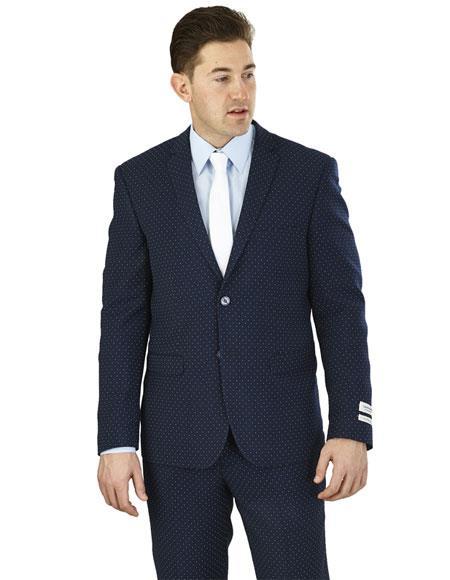 Men's Lorenzo Bruno Single Breasted 2 Button Notch Lapel Navy Suit