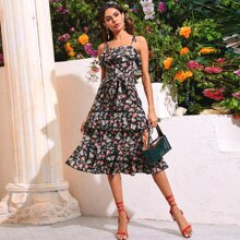 Floral & Butterfly Print Layered Ruffle Cami Dress