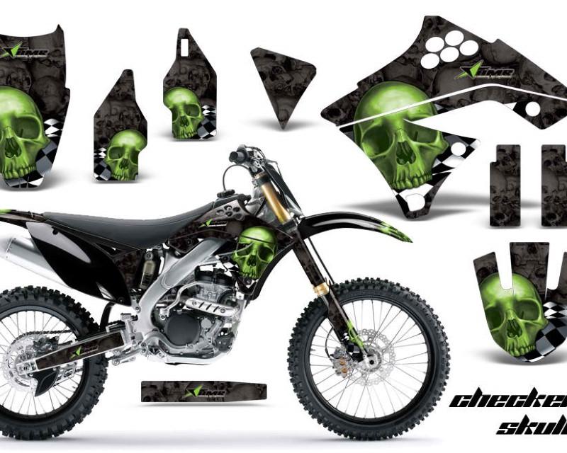 AMR Racing Dirt Bike Graphics Kit Decal Sticker Wrap For Kawasaki KX250F 2009-2012áCHECKERED GREEN BLACK
