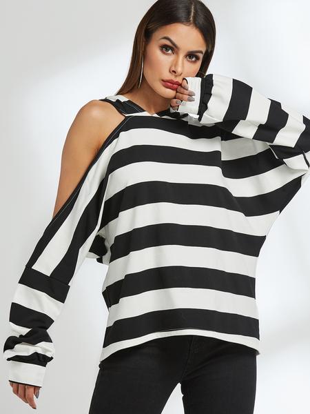 Yoins Stripe Asymmetrical Cold Shoulder Hoodie
