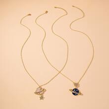2 piezas collar con planeta y estrella con diamante de imitacion