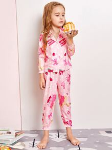 Toddler Girls Polka Dot Strawberry Print PJ Set