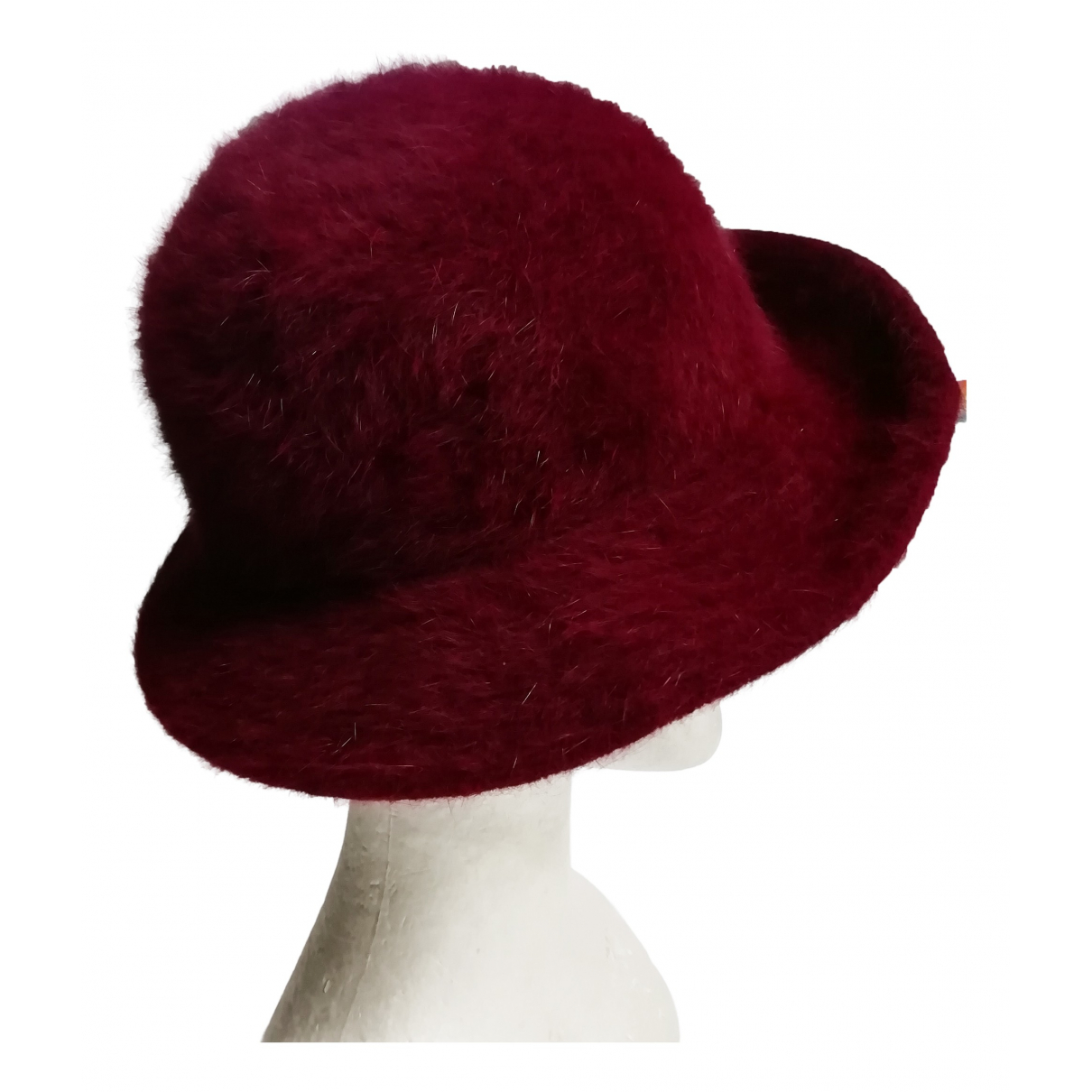 Non Signé / Unsigned N Burgundy Wool hat for Women 22.4 Inches