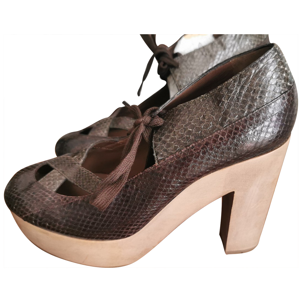 Marni - Boots   pour femme en python - marron