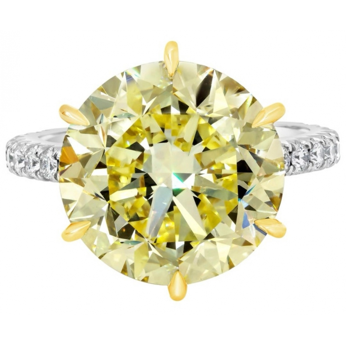 Non Signe / Unsigned Solitaire Ring in  Gelb Weissgold