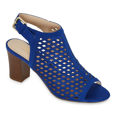 Liz Claiborne Womens Gemma Block Heel Buckle Bootie, 7 Wide, Blue